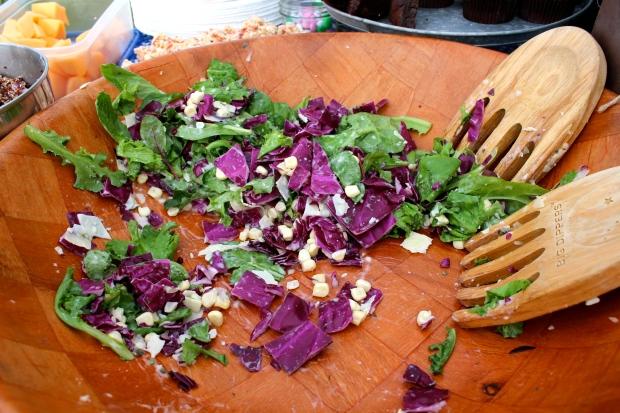 green salad - fresh greens, red cabbage, raw corn, Parmesan & ranch dressing