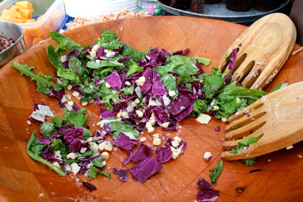 green salad - fresh greens, red cabbage, raw corn, Parmesan & ranch dressing