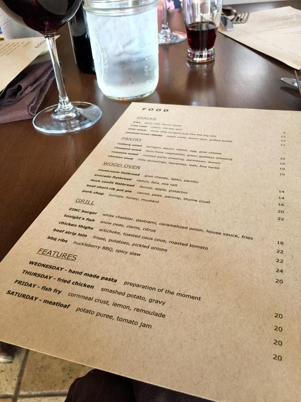 zinc menu - you can't go wrong