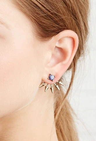 spiked faux stone earring