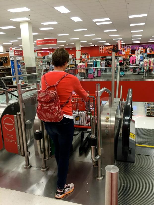 using the cart escalator!