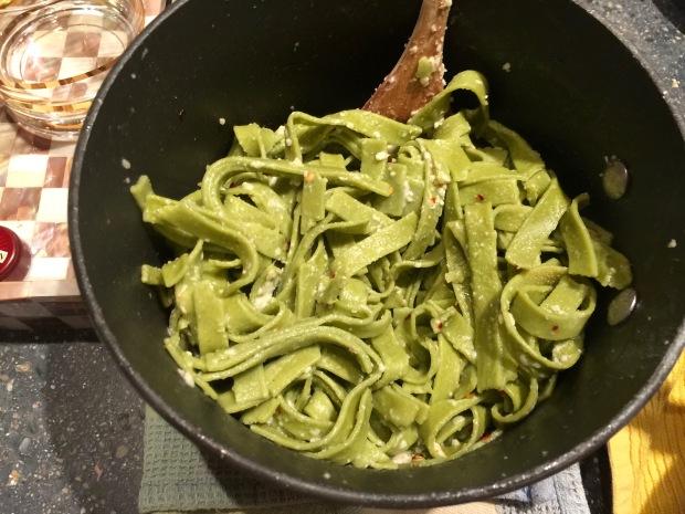 fresh, gluten free spinach noodles