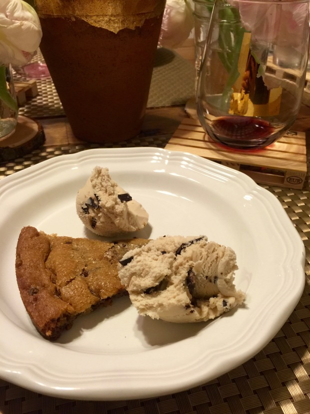 my cookie topped with ice-cream