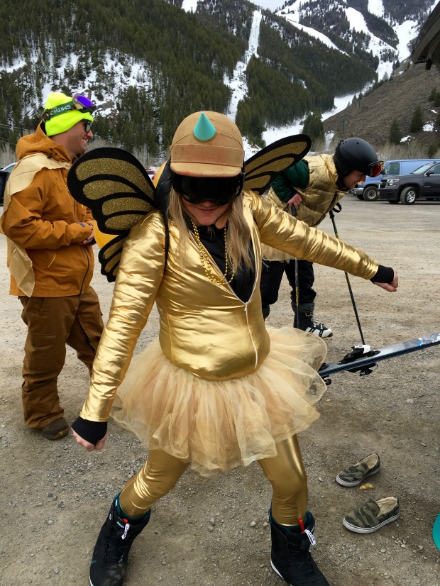 the following day included some epic skiing, all decked out in gold.